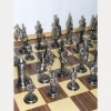 Шахматы металлические cредние века в деревянном ларце